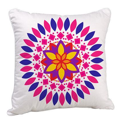Colorful Beautiful Rangoli Theme Satin Cushion Pillow with Filler