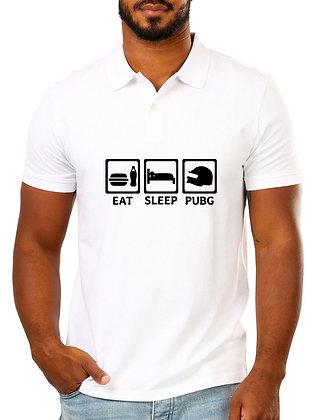 Eat Sleep Pubg Printed Regular Fit Polo Men's T-shirt