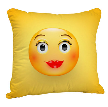 Woman Cute Face EMOJI Satin Cushion Pillow Cover with Filler