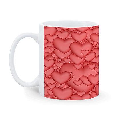 Heart Pattern Printed Ceramic Coffee Mug 325 ml