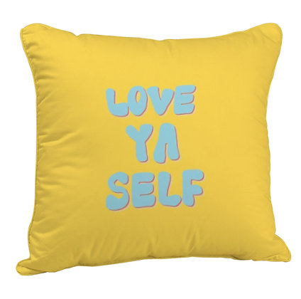 Love Yourself Printed Poly Satin Cushion Pillow Cover with Filler