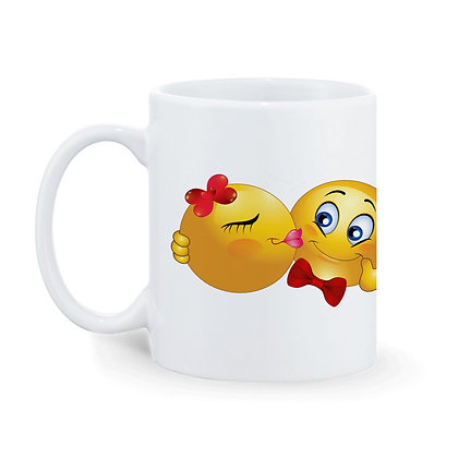 Couple Kiss Printed Ceramic Coffee Mug 325 ml