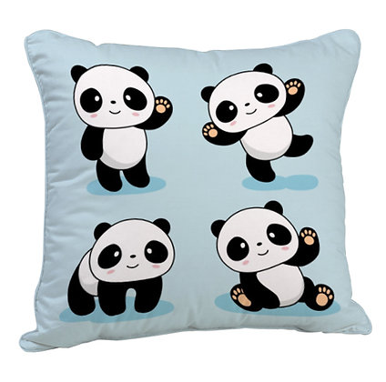 Cute Panda Pattern Satin Cushion Pillow with Filler