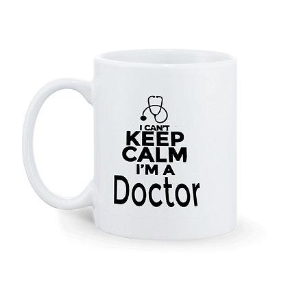 Keep Clam and I'm Doctor  Printed Ceramic Coffee Mug 325 ml