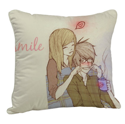 Smile Couple Printed Poly Satin Cushion Pillow with Filler