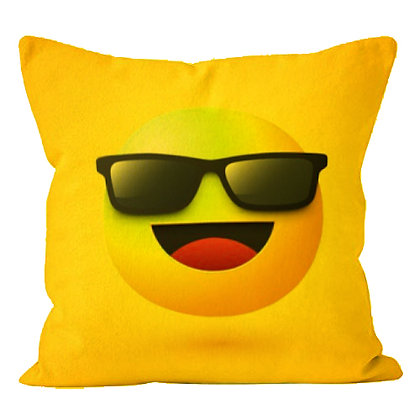 Mr. Cool Smiley with sunglasses Printed Poly Satin Cushion Pillow Cover with Fi