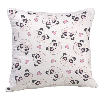 Love Panda Pattern Digital Printing Satin Pillow and Cushion Cover with Filler