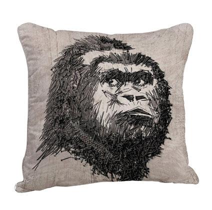 Monkey Art Satin Cushion Pillow with Filler