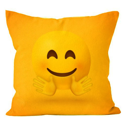 Hugging Face EMOJI Printed Poly Satin Cushion Pillow Cover with Filler