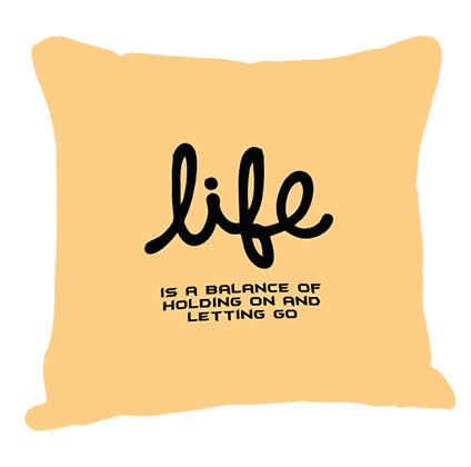 Life Printed Poly Satin Cushion Pillow Cover with Filler