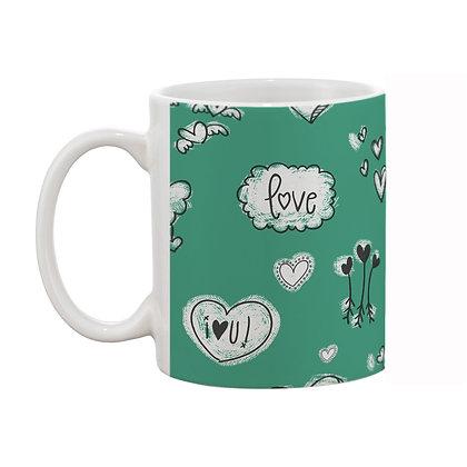 Love Green Theme Pattern Ceramic Coffee Mug 325 ml