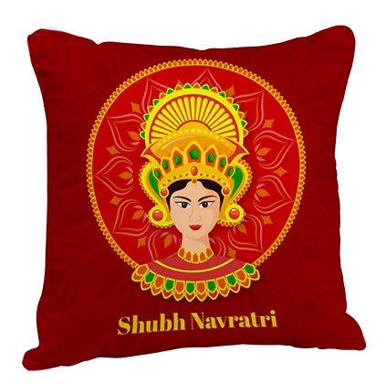 Shubh Navbratri Satin Cushion Pillow with Filler