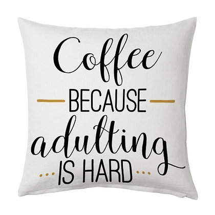 Coffee Printed Poly Satin Cushion Pillow Cover with Fille