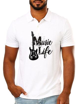 Music Life Printed Regular Fit Polo Men's T-shirt