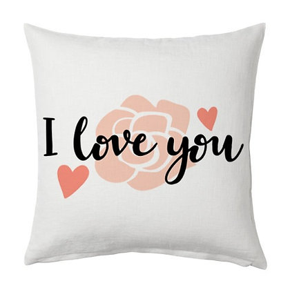 I LOVE YOU Printed Poly Satin Cushion Pillow Cover with Filler