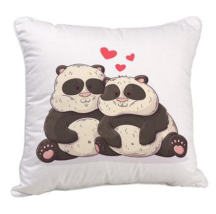 Couple Bear Satin Cushion Pillow with Filler