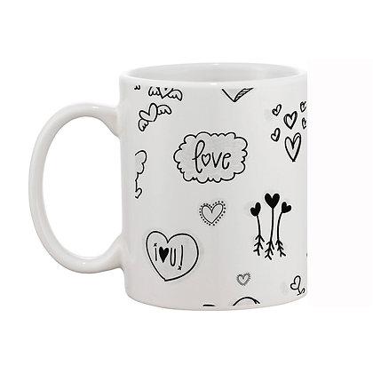 Love White Theme Pattern Ceramic Coffee Mug 325 ml