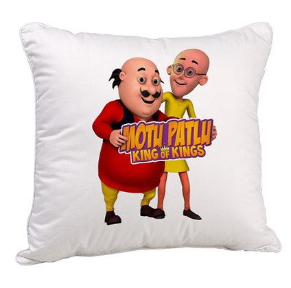 Motu Patlu Printed Poly Satin Cushion Pillow with Filler