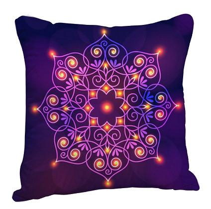 Multicolor 3D Beautiful Rangoli Theme Satin Cushion Pillow with Filler