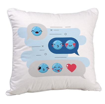 Love Chat Blue EMOJi Theme Satin Cushion Pillow Cover with Filler