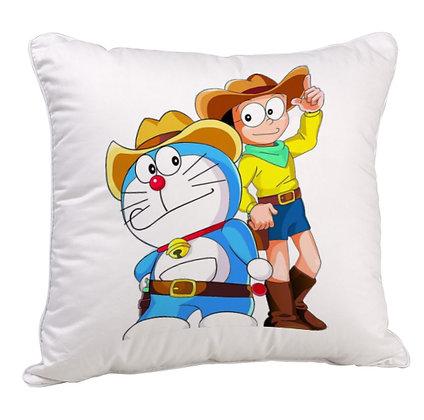Doraemon And Nobita Printed Poly Satin Cushion Pillow with Filler