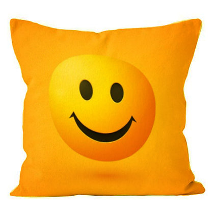 Smile EMOJI Printed Poly Satin Cushion Pillow Cover with Filler