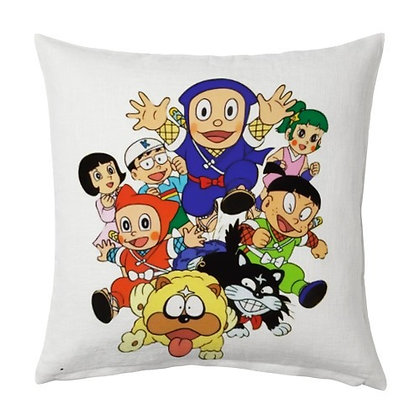 Ninja Hattori Printed Poly Satin Cushions Pillow Cover with Filler