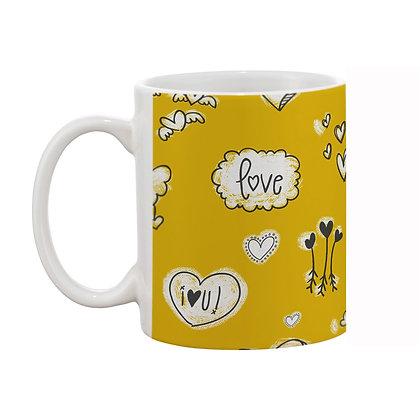 Love Yellow Theme Pattern Ceramic Coffee Mug 325 ml
