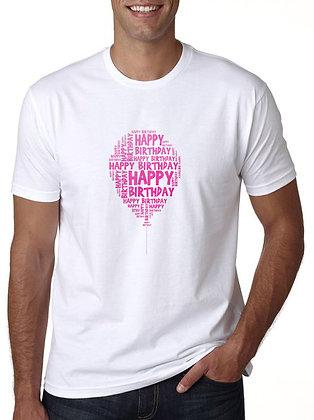 Happy Birthday Printed Regular Fit Round Men's T-shirt