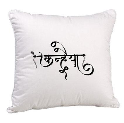 Kanhaiya (कन्हैया) Printed Poly Satin Cushion Pillow Cover with Filler