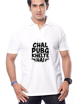 Chal Pubg Khelte Hai Printed Regular Fit Polo Men's T-shirt