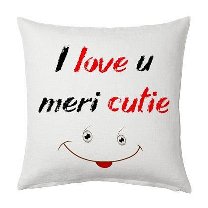 I love u Printed Satin white pillow