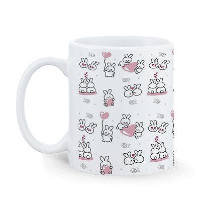 Cartoon Couple Rabbit Panda Pattern Ceramic Coffee Mug 325 ml