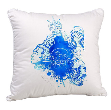 Lord Shiva Printed Poly Satin Cushion Pillow with Filler
