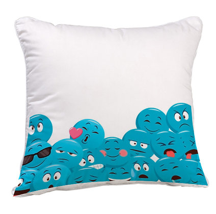 Group of Blue EMOJI Satin Cushion Pillow Cover with Filler