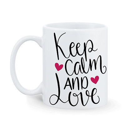 Keep Calm and Love Printed Ceramic Coffee Mug 325 ml