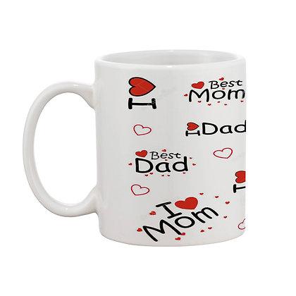 I Love You Mom-Dad Word Cloud Pattern Ceramic Coffee Mug 325 ml