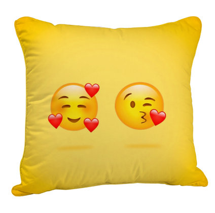 Couple Love EMOJI Satin Cushion Pillow Cover with Filler