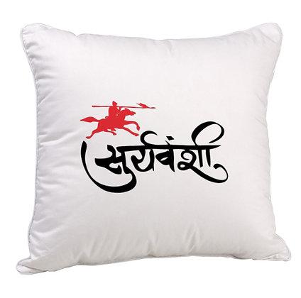Sooryavanshi Printed Poly Satin Cushion Pillow Cover with Filler