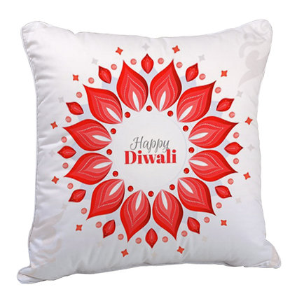 Happy Diwali Satin Cushion Pillow Cover with Filler