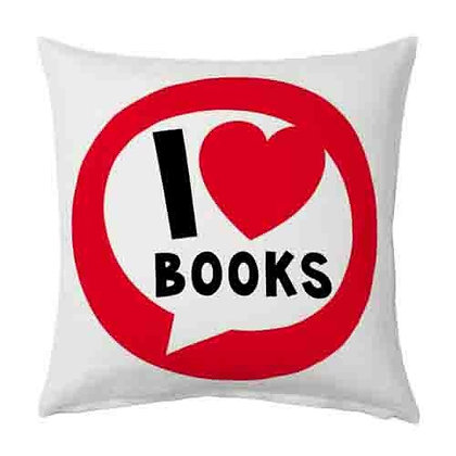 I Love Books Printed Poly Satin Cushions Pillow Cover with Filler