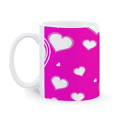 Heart Love Theme Pattern Ceramic Coffee Mug 325 ml