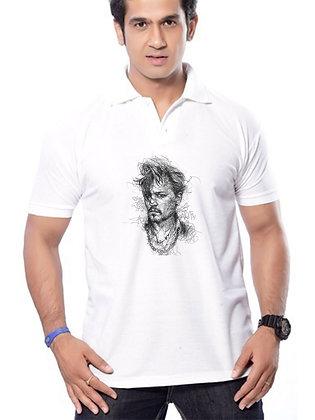 Johnny Depp Printed Regular Fit Polo Men's T-shirt
