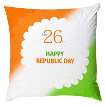 Happy Republic Day Printed Poly Satin Cushion Pillow Cover with Filler