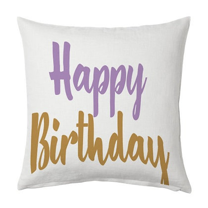 Happy Birthday Printed Poly Satin Cushions Pillow Cover with Filler