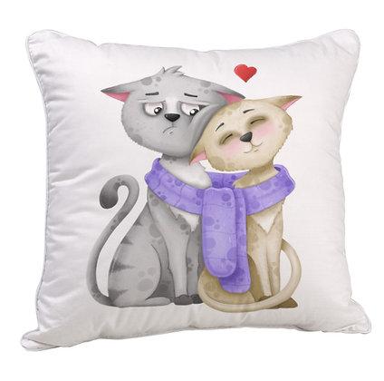 Cat Couple  Satin Cushion Pillow with Filler