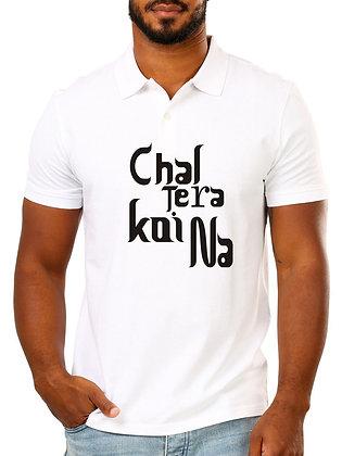 Chal Tera Koi Na Printed Regular Fit Polo Men's T-shirt
