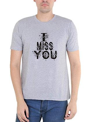 I MISS U Printed Regular Fit Round Men's T-shirt