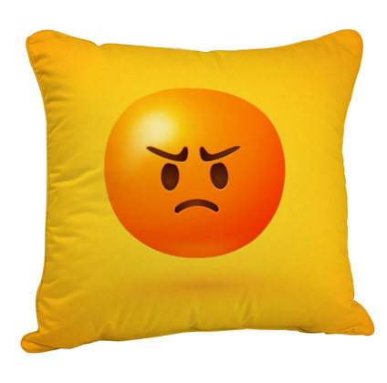 Pouting Face EMOJI Satin Cushion Pillow Cover with Filler