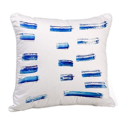 Blue Brush Artwork Satin Cushion Pillow with Filler